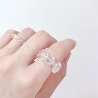 韓国 ビーズ リング 指輪 ハンドメイド 花(リング)