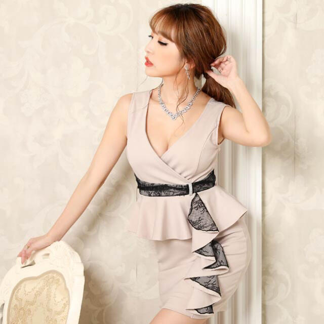 dazzy store(デイジーストア)の◆dazzy store◆ カシュクールレースペプラムタイトミニドレス レディースのフォーマル/ドレス(ミニドレス)の商品写真