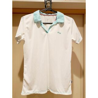 フィラ(FILA)のFILA ポロシャツ 白×ミントグリーン Lサイズ レディース フィラ(ウェア)