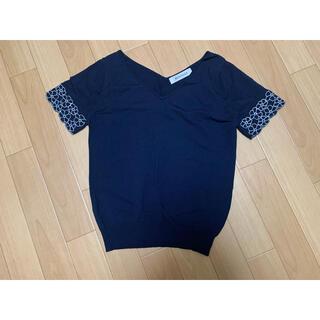 ミッシュマッシュ(MISCH MASCH)のMISCH MASCH♡ Tシャツ カットソー トップス ネイビー フラワー(Tシャツ(半袖/袖なし))