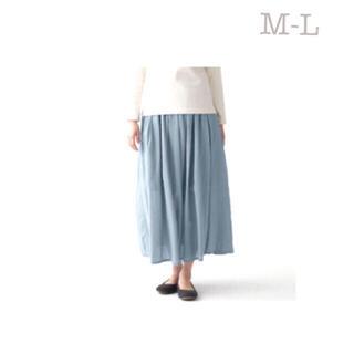 ムジルシリョウヒン(MUJI (無印良品))の無印良品     洗いざらし強撚ギャザースカート  M~L・ライトブルー(ロングスカート)