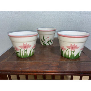 植木鉢 花 絵柄 白 ピンク 鉢 盆栽鉢 3点セット(その他)