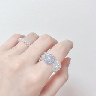 韓国 ビーズ リング 指輪 ハンドメイド パール風 水色 青色(リング)