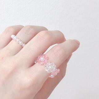 韓国 ビーズ リング 指輪 ハンドメイド ピンク(リング)