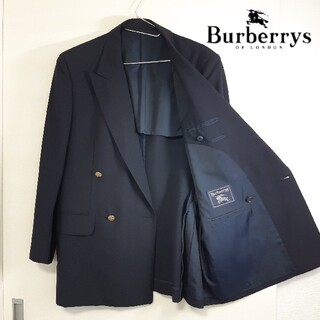 バーバリー(BURBERRY)の【美品】モヘア混 バーバリー シャドーホース 金ボタン ダブルブレスト A5 M(テーラードジャケット)