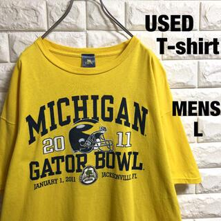 アメリカ古着 MICHIGAN  アメフト プリント Tシャツ メンズLサイズ(Tシャツ/カットソー(半袖/袖なし))