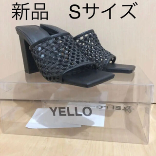 イエローブーツ(Yellow boots)のyello ブラック メッシュヒールサンダル Sサイズ(サンダル)