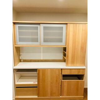 無垢材食器棚 モリタインテリア工業  メープル材 セラウッド塗装 定価50万円 (食器)
