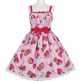 アンジェリックプリティー(Angelic Pretty)のRoyal Crown Berryジャンバースカートとカチューシャ ピンク(ひざ丈ワンピース)