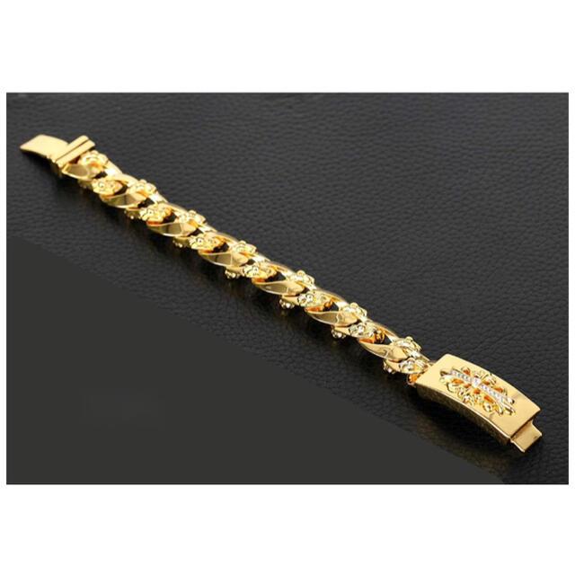 Chrome Hearts(クロムハーツ)の金 22k gp フローラルIDブレスレット ゴールド クロスジルコニア パヴェ メンズのアクセサリー(ブレスレット)の商品写真