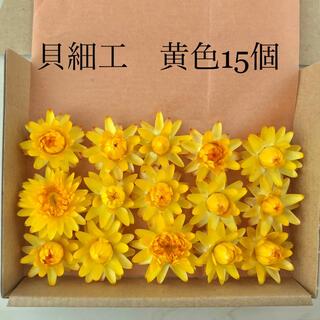 (21)貝細工 ヘリクリサム ドライフラワー 黄色 15個(ドライフラワー)