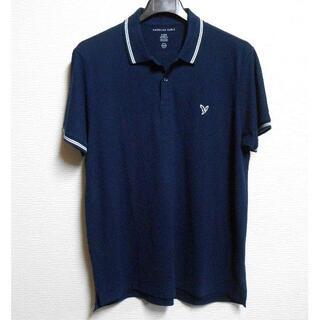 アメリカンイーグル(American Eagle)のアメリカンイーグル/US:XL/ネイビー/アイコンパッチ鹿の子半袖ポロシャツ(ポロシャツ)