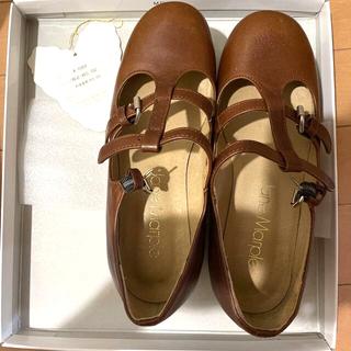 JaneMarple - ジェーンマープル 靴 ウッドソール2ストラップシューズ Mサイズ ブラウン