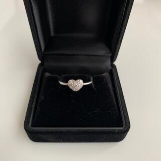 ジュエリーツツミ(JEWELRY TSUTSUMI)のツツミ K10WG ぷっくりハートパヴェダイヤモンドリング(リング(指輪))