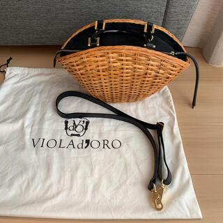 トゥモローランド(TOMORROWLAND)の美品⭐︎VIOLAd'ORO カゴバッグ 黒 ショルダー付き(かごバッグ/ストローバッグ)