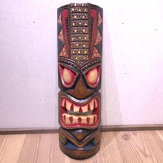 カラフルなティキ面C&グレー ティキマスク 木彫りのお面壁掛けインテリア ハワイ(彫刻/オブジェ)