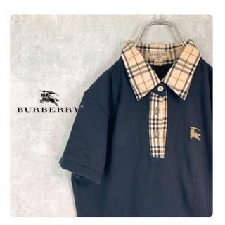 バーバリー(BURBERRY)のBurberry London ポロシャツ 刺繍 金ロゴ ノバチェック USA製(ポロシャツ)