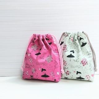 キラキラバレリーナのコップ袋、巾着、歯ブラシコップ入れ(バッグ/レッスンバッグ)