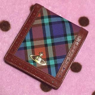 ヴィヴィアンウエストウッド(Vivienne Westwood)のチェック柄二つ折り財布ブラウン系(財布)