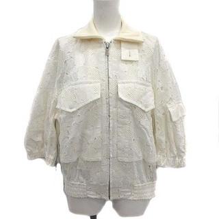 サカイ(sacai)のサカイ 18SS ジャケット ブルゾン 刺繍 レース ハート 七分袖 1 S 白(ブルゾン)