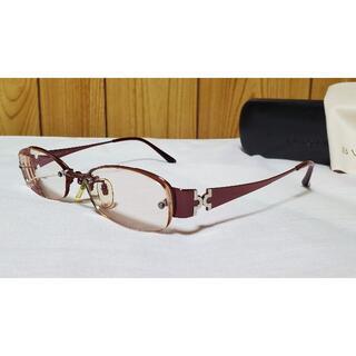 ブルガリ(BVLGARI)の正規良 レア ブルガリ パレンテシ メタルフレーム眼鏡 赤系 付属有○サングラス(サングラス/メガネ)