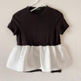 バーニーズニューヨーク(BARNEYS NEW YORK)のヨーコ チャン YOKO CHAN フロントギャザー Tシャツ ブラックホワイト(カットソー(半袖/袖なし))