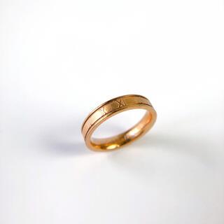 ヴィンテージ ピンクゴールドリング 13号 ローマ数字指輪アクセサリージュエリー(リング(指輪))