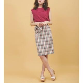 31 Sons de mode - 《31 Sons de mode》麻調合繊チェック柄 リボン付スカート 36