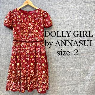 ドーリーガールバイアナスイ(DOLLY GIRL BY ANNA SUI)のDOLLY GIRL by ANNASUI ワンピース 花柄 総柄 刺繍 赤(ひざ丈ワンピース)