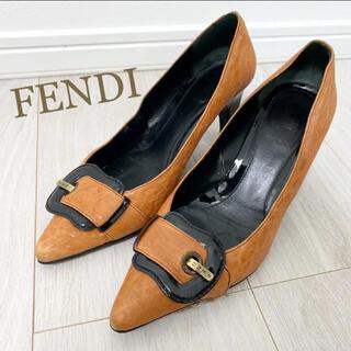 フェンディ(FENDI)のフェンディ 23.5 本革 イタリア製 ブラウン ロゴ パンプス(ハイヒール/パンプス)