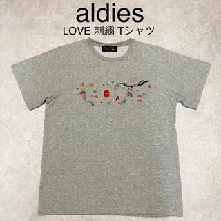 アールディーズ(aldies)のaldies アールディーズ LOVE 刺繍 ロゴ バード Tシャツ グレー M(Tシャツ/カットソー(半袖/袖なし))