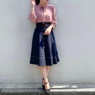 アストリアオディール(ASTORIA ODIER)のベルト付配色ステッチスカート(ひざ丈スカート)