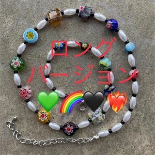 サカイ(sacai)のNo.219 フラワー ミルフィオリ パールネックレス ビーズネックレス(ネックレス)