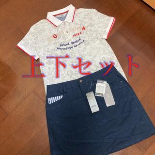 adidas - レディースゴルフウェア 新品アディダスゴルフスカート  美品ポロシャツ  L