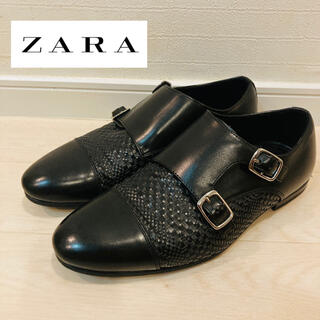 ZARA - ZARA ザラ レザー ダブルモンク ストラップ ビジネス ブラック 25.5