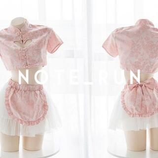 【x7chp】73ミニチャイナドレス ハート セクシー ピンク 夢可愛双子飯店(衣装一式)