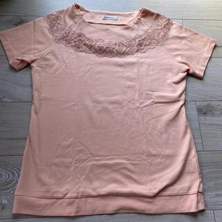 NEWYORKER - NEWYORKER ニューヨーカー 半袖 Tシャツ レース サーモンピンク