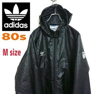 adidas - 80s adidas アディダス ビンテージ 黒 ナイロンジャケット フーディー