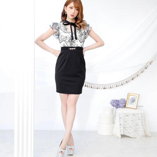 dazzy store(デイジーストア)のdazzy storeデイジー新品ハイネックボウタイリボンタイトミニドレス L レディースのフォーマル/ドレス(ミニドレス)の商品写真