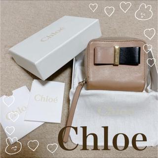 Chloe - クロエ ボウ リボン 折り財布 ミニ財布 バイカラー ベージュ×ブラック 黒