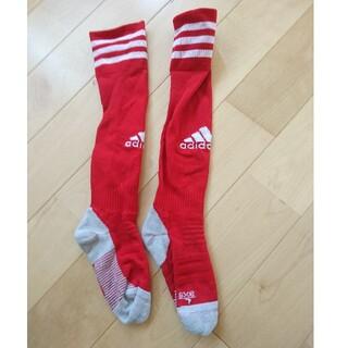 アディダス(adidas)のアディダス サッカー 靴下 中古 赤 レッド ロング ハイ ソックス(靴下/タイツ)