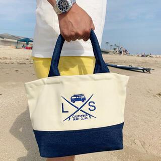 ロンハーマン(Ron Herman)の海で便利☆LUSSO SURF ミニトートバッグ デニム✖️ホワイト RVCA(トートバッグ)
