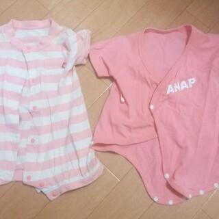 アナップキッズ(ANAP Kids)のアナップキッズピンクの半袖ロンパースとボーダー半袖ロンパース2枚セット(ロンパース)