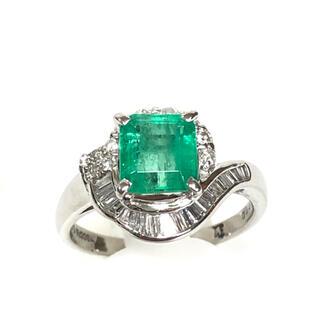 【期間限定】1.5ct天然エメラルド、0.4ctダイヤ Pt900プラチナ 指輪(リング(指輪))