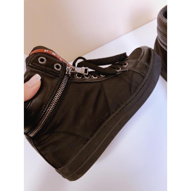 PRADA(プラダ)のPRADA プラダ スニーカー ハイカット レディース 36 ブラック 靴 レディースの靴/シューズ(スニーカー)の商品写真