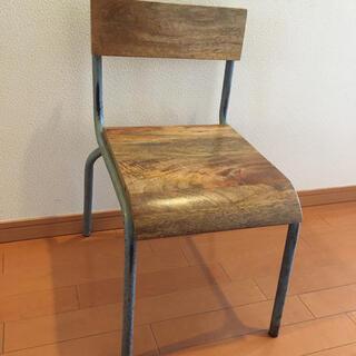 アイアンキッズチェア 鉄脚木製キッズチェア 武骨(家具)