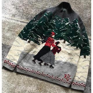 ラルフローレン(Ralph Lauren)の芸術的1枚 圧巻の風景画 90's LAUREN ラルフローレン ニットセーター(ニット/セーター)