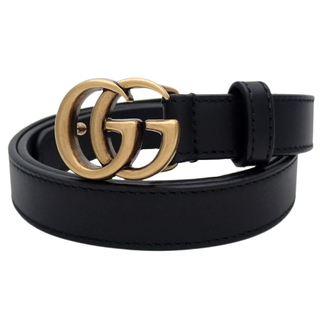 グッチ(Gucci)のグッチ ダブルG バックル ベルト レザー ブラック黒 40800074089(ベルト)
