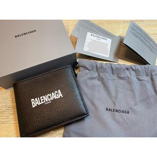 バレンシアガ(Balenciaga)のBALENCIAGA ブラック ロゴ バイフォールド ウォレット(折り財布)