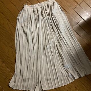 レディスロングスカート プリーツ グレージュ ロングスカート